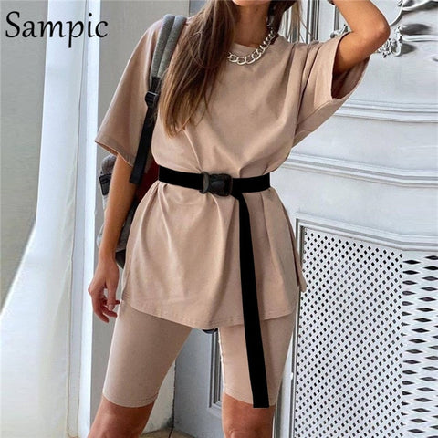 Summer Neck Short Sleeve Shirt Tops and Short for Women