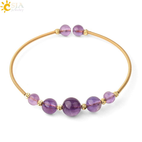 Wire Wrap Round Stone Ancient Natural Crystal Bangles for Women