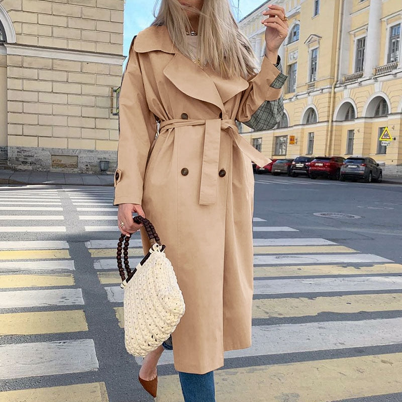 Casual Long Sleeve Coat With Belt Windbreaker for Women