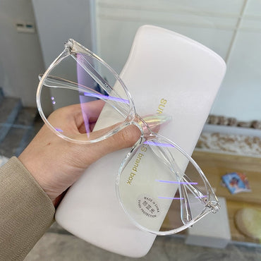 Anti Blue Light Round Transparent Computer Glasses Frame for Women