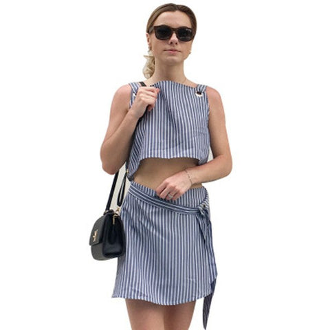 Casual Summer Strip crop Top with Mini Skirts for Women