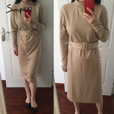 Solid  Warm  Knitted Long Sleeve Midi Dress With Belt for Women