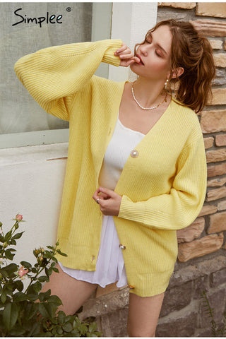 Casual Long Knitted Yellow Cardigan Lantern Sleeve Sweaters for Women