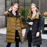 Winter Turtleneck Double Sided Down Long Jacket for Women
