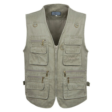 Big Size Cotton Sleeveless Vest Coat With 16 Pockets for Men