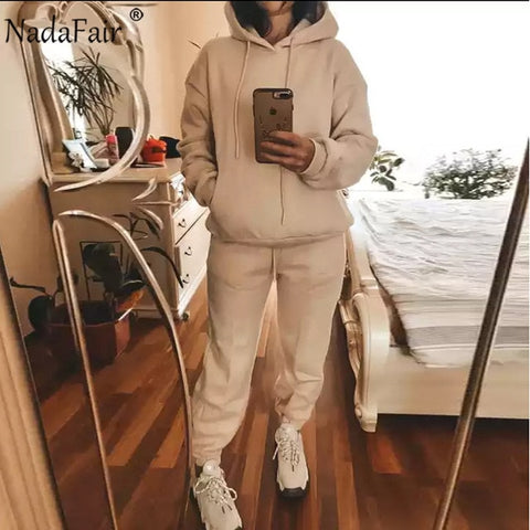 Two Piece Winter Oversized Casual Sport Tracksuit for Women