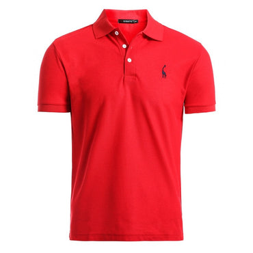 Casual Embroidery Cotton Short Sleeve Polo Shirts for Men
