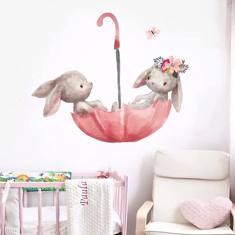 Cute Grey Bunny Ballet Rabbit Wall Stickers for Kids