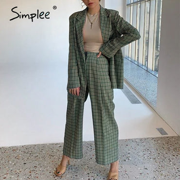 Elegant plaid two-pieces women blazer suit Casual streetwear suits female blazer set | Office ladies women coat suit
