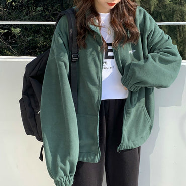 Women Plus Fleece Hoodies Autumn Streetwear Zip-up Oversize Sweatshirt Jacket Trendy Solid Pocket Turn-down Collar Women Outwear