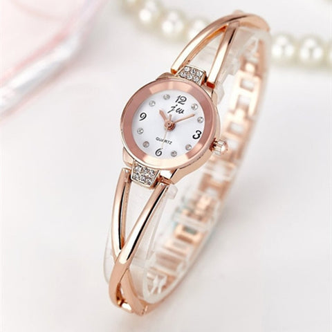 Rhinestone Stainless Steel Bracelet Quartz Wristwatch