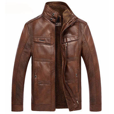 Casual High Quality PU Leather Outerwear Fleece Jacket