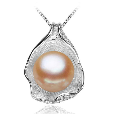 Sterling Silver Charm Shell Design Pearl Pendant Necklace