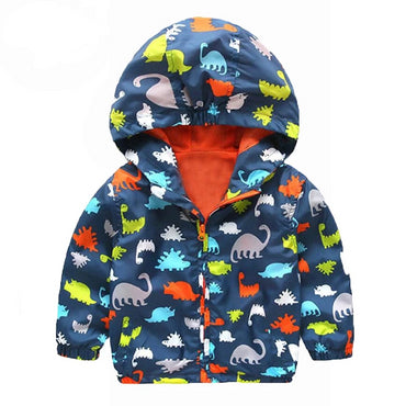 Casual Cute Dinosaur Printed Autumn Wear Windbreaker Boys Jacket