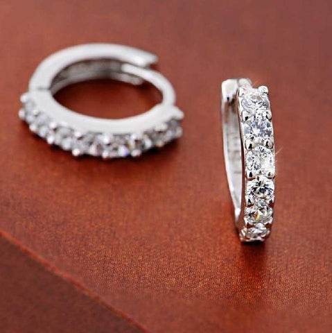New Silver Plated Rhinestone Round Hoop Earring for Women
