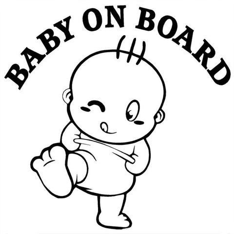 New Baby On Board Cute Car & Motorcycle Glue Stickers