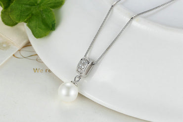 Sterling Silver Simulated Pearl Long Chain Pendant Necklace