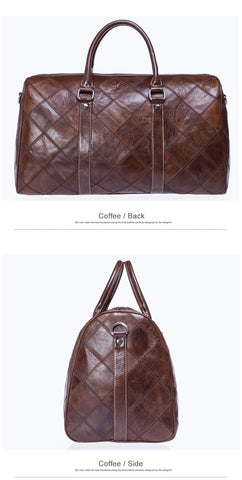 Plaid Style Genuine Leather Duffle Luggage Travel Bag
