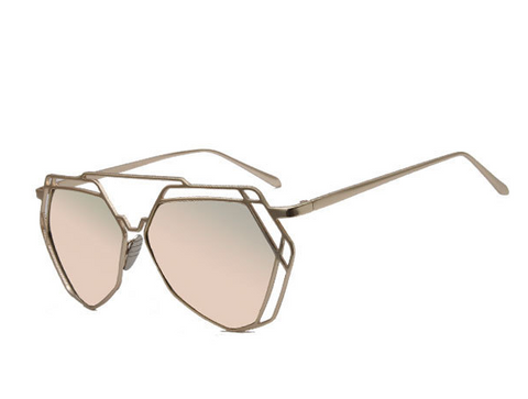 Luxury Vintage Geometric Metal Frame Women's Sunglasses