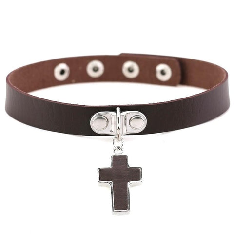 Simple Cross Gothic Leather Choker Necklace