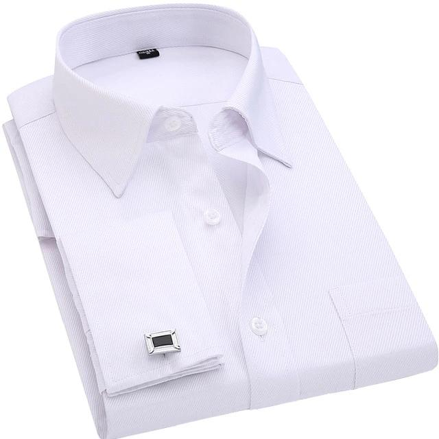 Long Sleeve Lining Pattern Turn Down Collar French Cuffllinks Business Shirt