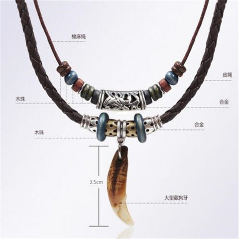 Handmade Tee Beads Unisex Rope Thread Necklace
