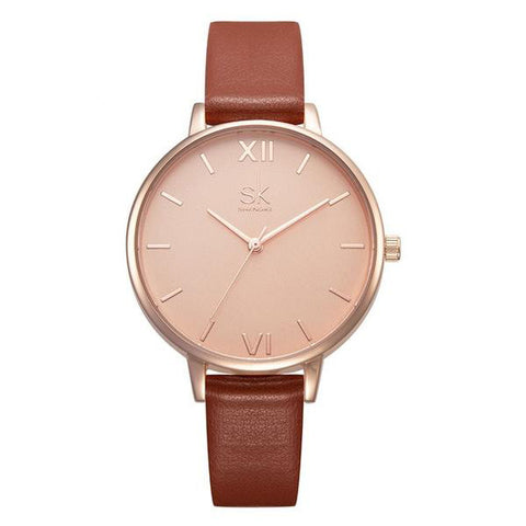 Casual Thin Leather Strap Quartz  Wristwatch