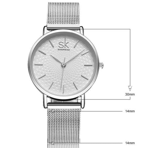 Mesh Strap Luxury Stainless Steel Wrist Watch