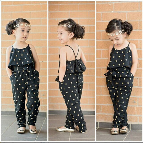 Casual Stylish Heart Pattern Girl's Cotton Sleeveless Jumpsuit Set