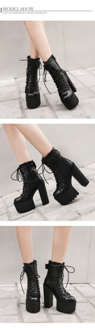 High Heels Women PU Leather Motorcycle Boots