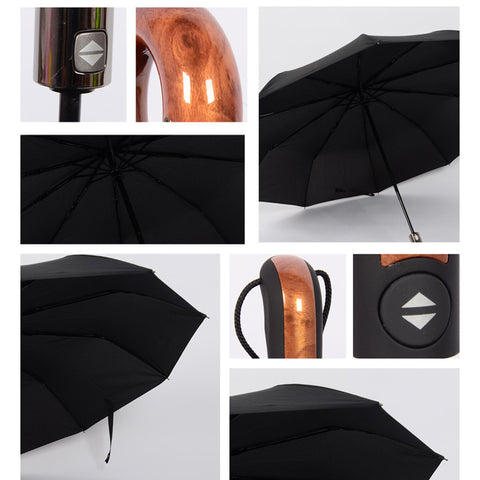 Black 3 Folding Fully-Automatic 10Ribs Strong Wind Resistant Umbrella For Unisex