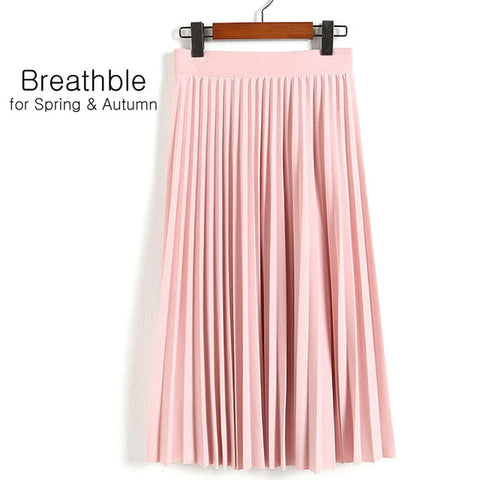 High Waist Pleated Elastic Casual Long Skirt