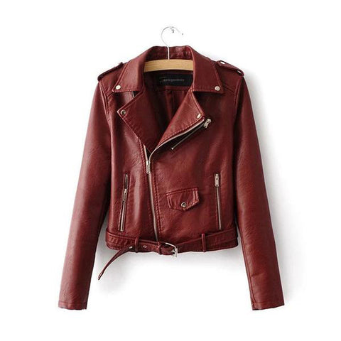 Faux PU Soft Leather Motorcycle Jacket