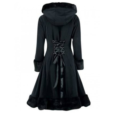 Winter Gothic Long Sleeve Single Breasted Slim Black Coat