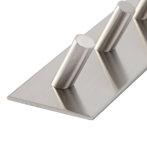 Silver Stainless Steel 3M Self Adhesive Wall Door Back Clothes Hooks
