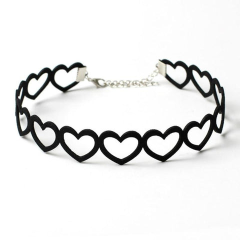 Hollow Out Love Heart Velvet Women's Choker Necklace