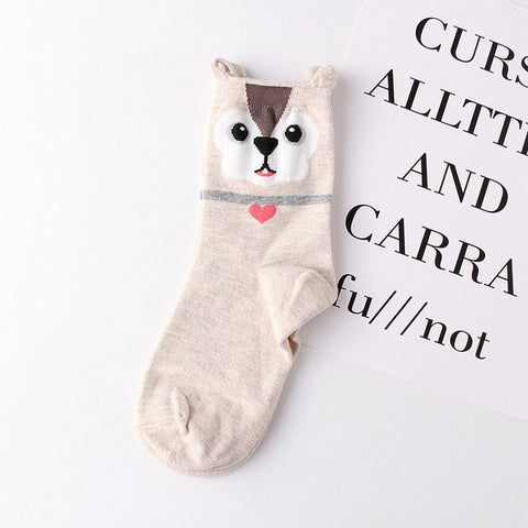 Cute Cotton Jacquard Fruit  Animal Cat Footprint Socks