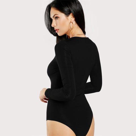 Solid Long Sleeve Mid Waist Round Neck Casual Bodysuit