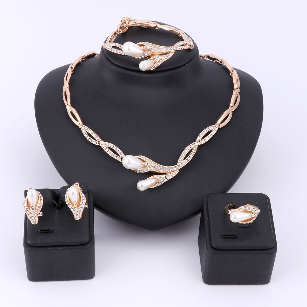 Women's Pearl Beads Crystal Wedding Jewelry Sets