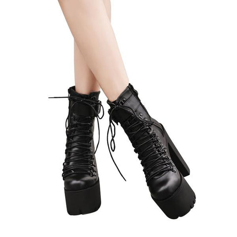 High Heels Women Leather Motorcycle Boots