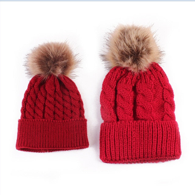 New Warm Knit Pom Bobble Beanie Hats for Mother & Baby