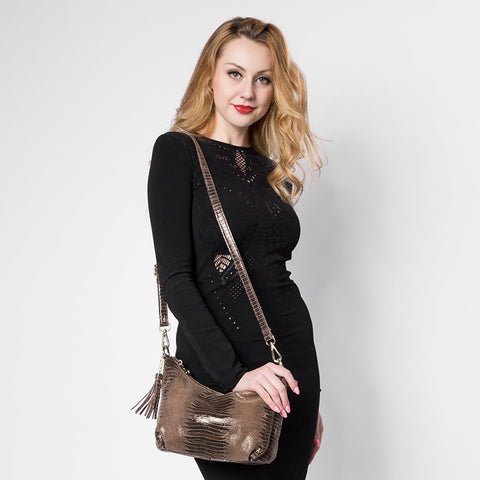 Snake Pattern Leather Shoulder Women Handbag