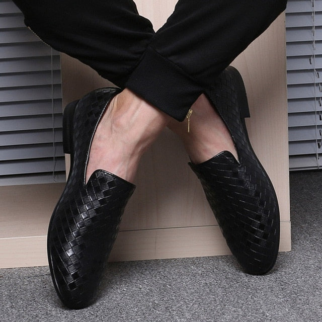 Casual Braid Leather Moccasins Men's Loafers