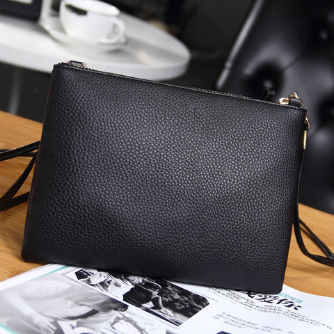 Casual Black Leather Enveloped Shape Small Crossbody Messenger Bag