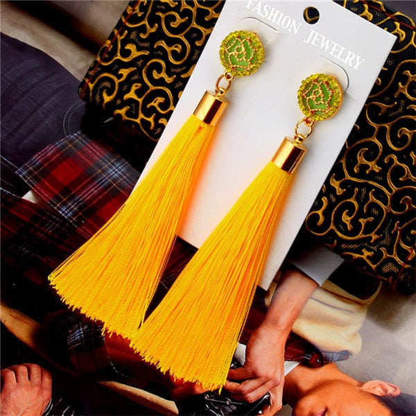 Crystal Long Silk Fabric Tassel Earring