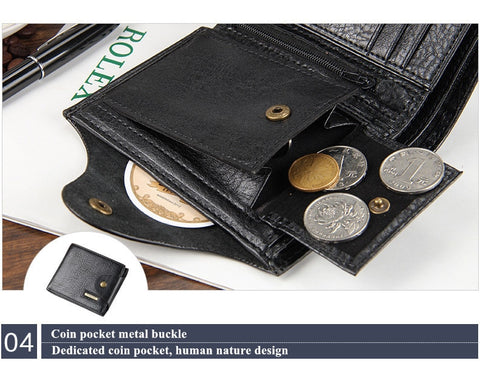 High Quality Leather Sequined Men's Short Wallet
