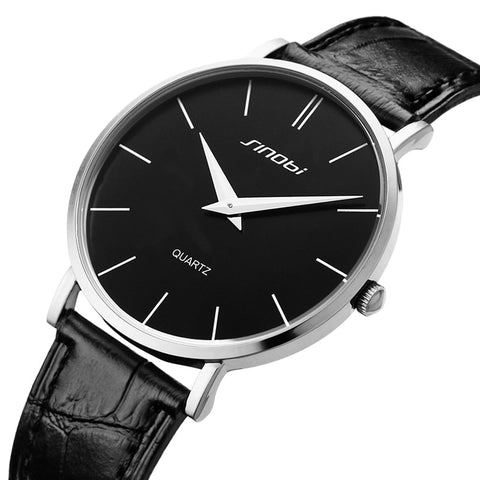 New Super Slim Casual Leather Analog Quartz Wrist Watch for Men