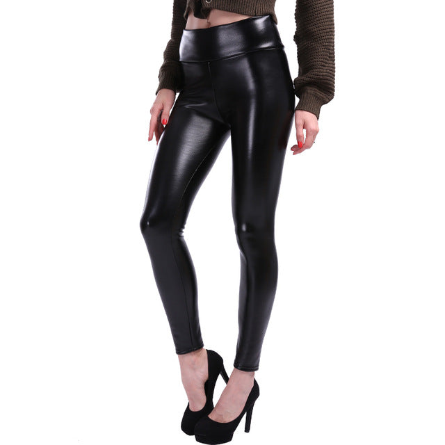 High Waist Slim Black PU Leather Leggings