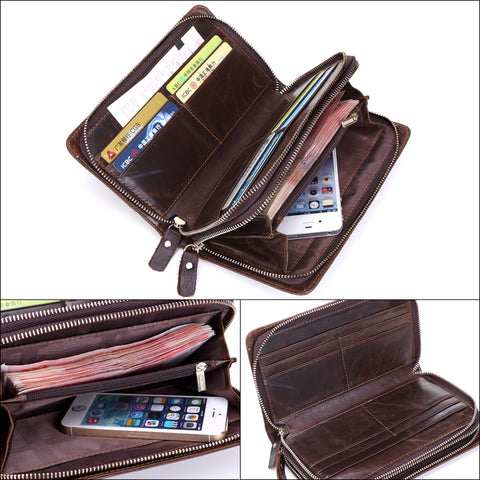 New Genuine Leather Double Zipper Business Long Phone Wallet for Men