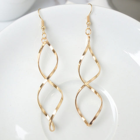 Long Double Loop Wave Earrings